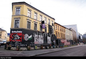 A7439K Youth occupied building in Oslo norway The building is occupied by the Blitz group